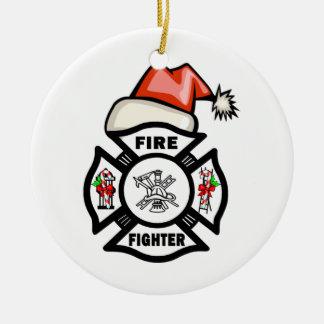 Firefighter Santa Claus Ceramic Ornament