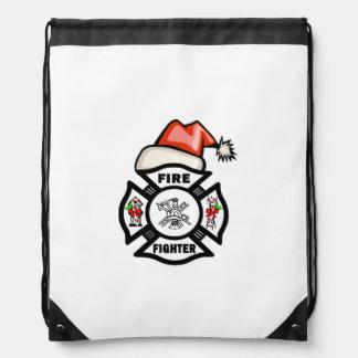 Firefighter Santa Claus Cinch Bags