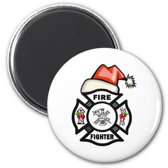 Firefighter Santa Claus Magnet