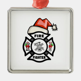 Firefighter Santa Claus Metal Ornament