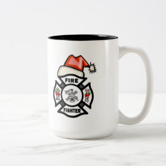 Firefighter Santa Claus Two-Tone Coffee Mug