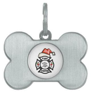 Firefighter Santa Claus Pet Tags