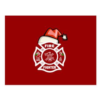 Firefighter Santa Claus Postcard