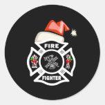 Firefighter Santa Claus Round Sticker