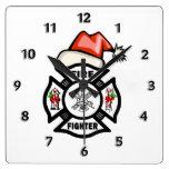 Firefighter Santa Claus Square Wall Clocks