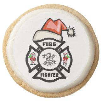 Firefighter Santa Round Shortbread Cookie