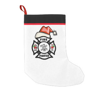 Firefighter Christmas Stocking.Firefighter Santa Small Christmas Stocking
