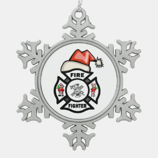 Firefighter Santa Snowflake Pewter Christmas Ornament