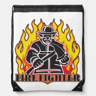 Firefighter Silhouette Drawstring Bag
