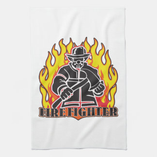 Firefighter Silhouette Kitchen Towel