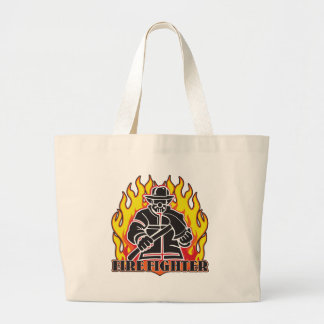 Firefighter Silhouette Large Tote Bag