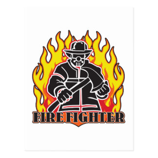 Firefighter Silhouette Postcard
