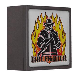Firefighter Silhouette Premium Trinket Boxes