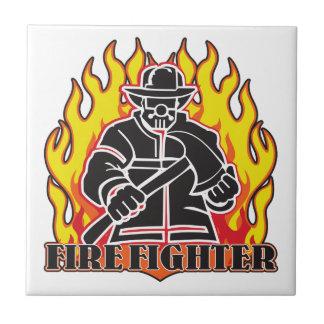 Firefighter Silhouette Tile