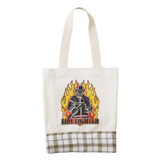 Firefighter Silhouette Zazzle HEART Tote Bag