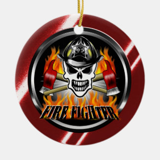 Firefighter Skull 2 and Flaming Axes Ceramic Ornament