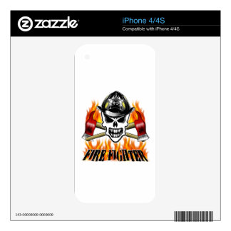 Firefighter Skull 2 and Flaming Axes Decal For The iPhone 4S