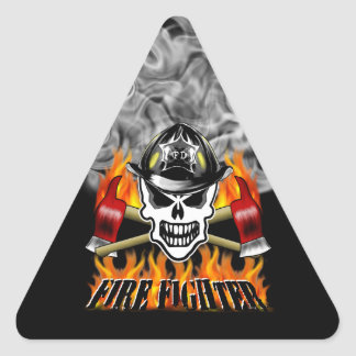 Firefighter Skull 2 and Flaming Axes Triangle Sticker