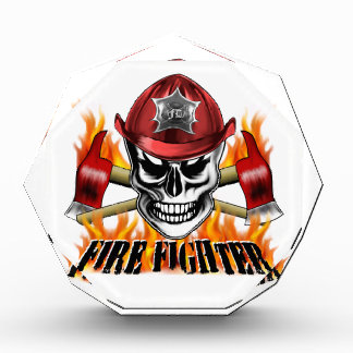 Firefighter Skull 4 and Flaming Axes Acrylic Award