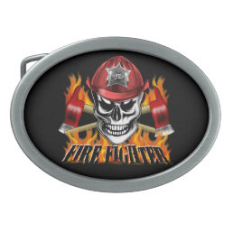 Firefighter Skull 4 and Flaming Axes Belt Buckle