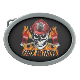 Firefighter Skull 4 and Flaming Axes Oval Belt Buckles