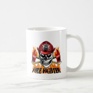 Firefighter Skull 4 and Flaming Axes Coffee Mug