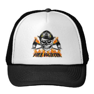 Firefighter Skull 4 and Flaming Axes Trucker Hat
