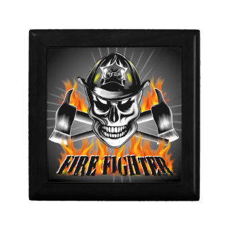 Firefighter Skull 4 and Flaming Axes Jewelry Box