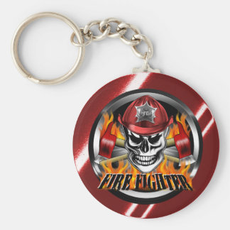 Firefighter Skull 4 and Flaming Axes Keychain