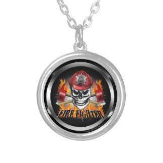 Firefighter Skull 4 and Flaming Axes Round Pendant Necklace
