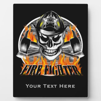 Firefighter Skull 4 and Flaming Axes Plaque