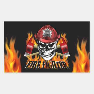 Firefighter Skull 4 and Flaming Axes Rectangular Sticker