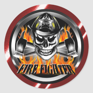 Firefighter Skull 4 and Flaming Axes Classic Round Sticker