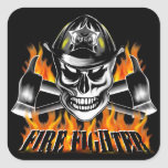 Firefighter Skull 4 and Flaming Axes Square Sticker