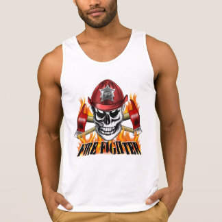 Firefighter Skull 4 and Flaming Axes Tank Top