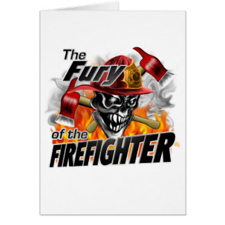 Firefighter Skull 5 and Flames Greeting Card