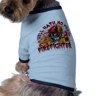 Firefighter Skull 5 and Flames Pet T Shirt