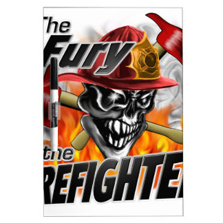 Firefighter Skull 5 and Flames Dry-Erase Board