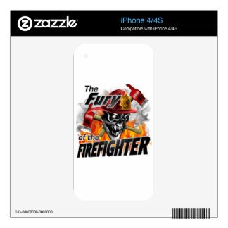 Firefighter Skull 5 and Flames Skin For iPhone 4