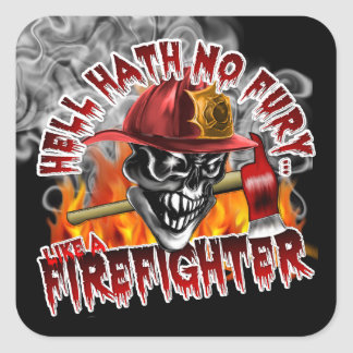 Firefighter Skull 5 and Flames Square Sticker