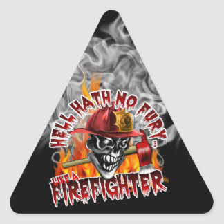 Firefighter Skull 5 and Flames Triangle Sticker
