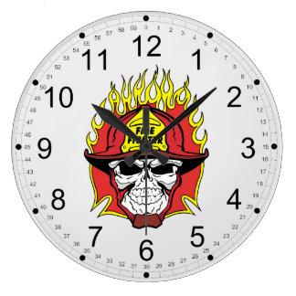 Firefighter Skull Wall Clocks
