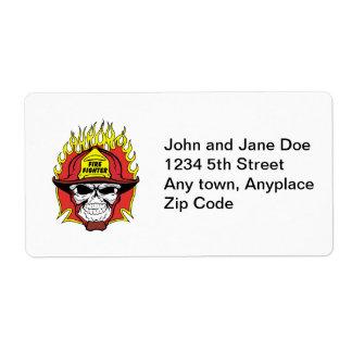 Firefighter Skull Shipping Label