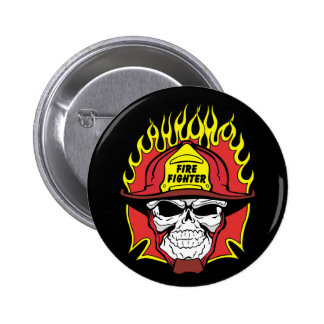 Firefighter Skull Pinback Button