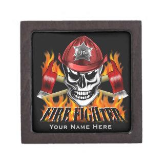 Firefighter Skull Premium Jewelry Boxes