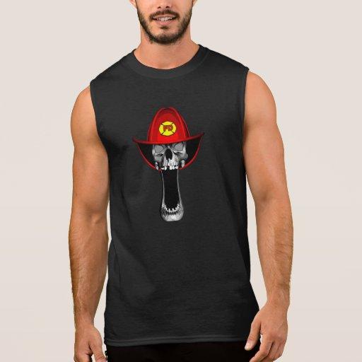Firefighter Skull Sleeveless T-shirt Tank Tops, Tanktops Shirts