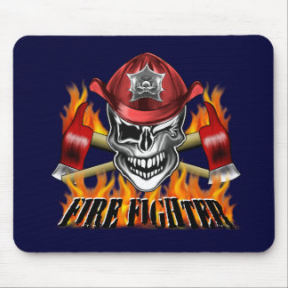 Firefighter Skull: Winking Mouse Pads