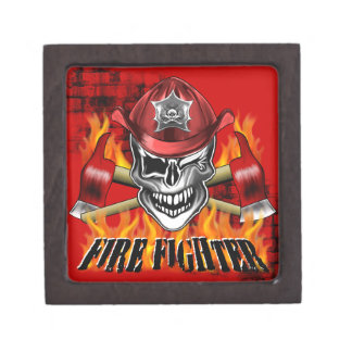 Firefighter Skull: Winking Premium Keepsake Box