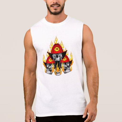 Firefighter Skulls Sleeveless Tees Tank Tops, Tanktops Shirts