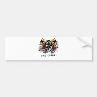Firefighter Skulls: The Chief. Bumper Sticker